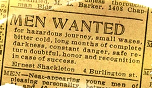 The famous Shackleton ad, supposedly printed in The Times. Read more: http://www.smithsonianmag.com/smart-news/shackleton-probably-never-took-out-an-ad-seeking-men-for-a-hazardous-journey-5552379/#d08KMpS25xx87Ofs.99 Give the gift of Smithsonian magazine for only $12! http://bit.ly/1cGUiGv Follow us: @SmithsonianMag on Twitter